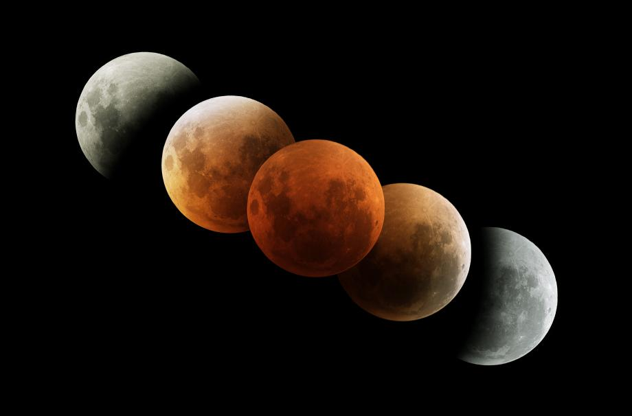 Five Stages of a Lunar Eclipse